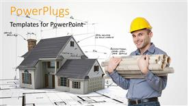 PowerPoint template displaying a construction worker with a building in the background