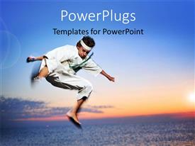 PowerPoint template displaying a young martial arts fighter practicing in mid air