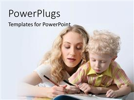 PowerPlugs: PowerPoint template with young mother teaching handsome lad from open book