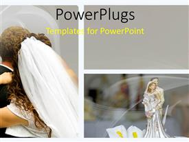 PowerPlugs: PowerPoint template with wedding depiction with collage of bride and groom in background