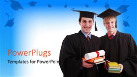 PowerPlugs: PowerPoint template with two graduates with bluish background and place for text