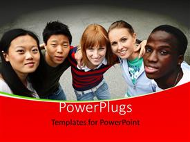 PowerPlugs: PowerPoint template with young people of different ethnic groups on the schoolyard