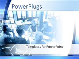 PowerPoint template displaying young people discussing at conference table with someone presenting