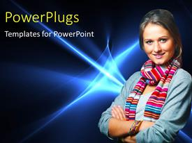 PowerPlugs: PowerPoint template with a young pretty lady smiling on a blue background