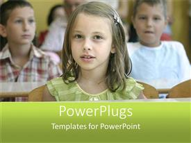 PowerPlugs: PowerPoint template with young pretty little girl in green in a class room