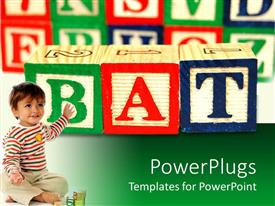 PowerPoint template displaying young pretty smiling baby pointing at multi colored blocks