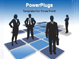 PowerPoint template displaying young professionals standing on blue animated squares