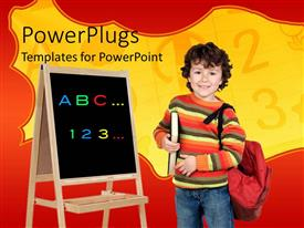 PowerPlugs: PowerPoint template with young smiling boy holding a red school bag and a black board