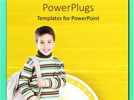 PowerPlugs: PowerPoint template with a young smiling boy holding a school bag on yellow background