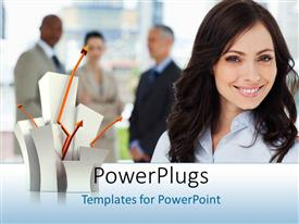 PowerPlugs: PowerPoint template with young smiling business woman smiles with plant sprouting from box