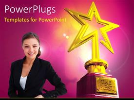 PowerPlugs: PowerPoint template with young smiling girl and Gold star award with The Best keyword over glowing background