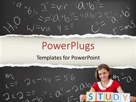 PowerPlugs: PowerPoint template with young smiling teacher with STUDY letters and blackboard in the background