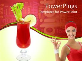 PowerPlugs: PowerPoint template with young smiling woman dressed for exercising and red drink in glass with celery and lime and word cloud related to healthy diet