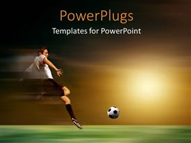 PowerPlugs: PowerPoint template with young soccer player in acrobatic with sunset