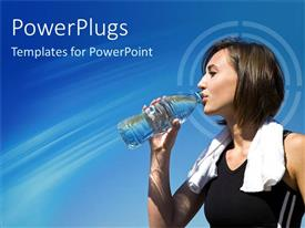 PowerPlugs: PowerPoint template with young woman drinking water from bottle dressed for running with white towel around her neck