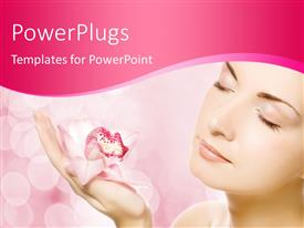 PowerPlugs: PowerPoint template with young woman holding a cereal bowl against a nature background