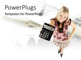 PowerPoint template displaying young woman holding up a calculator with pen and chart in background