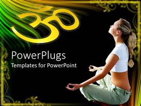 PowerPoint template displaying young woman in lotus position meditating with abstract framing and black background