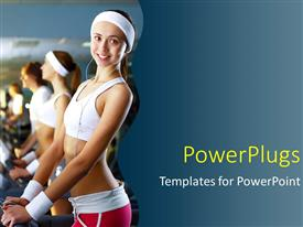 PPT theme consisting of young woman in sport wear doing sport in gym