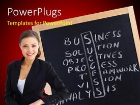 PowerPoint template displaying young woman with success ingredients written in crossword on chalkboard