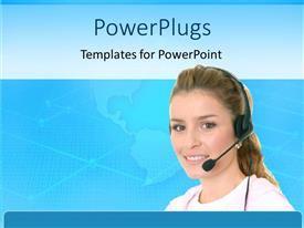 PowerPlugs: PowerPoint template with young woman wearing headphones and microphone with world map on light blue background