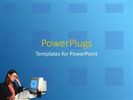 PowerPoint template displaying young woman working on desktop computer with blue background