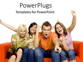 PowerPoint template displaying young women and man sitting on couch cheering, sports fans