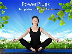 PowerPlugs: PowerPoint template with young women wearing black exercising clothes performing yoga meditation exercising on blue mat with flower field and branches with green leaves and bright blue sky background