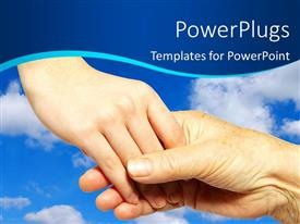 PowerPoint template displaying youth holding hand and helping some elderly people with sky in background