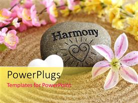 PowerPlugs: PowerPoint template with a zen stone with a number of flowers and sand