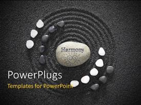 PowerPlugs: PowerPoint template with zen stones with a sand in the background