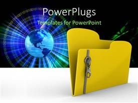 PowerPlugs: PowerPoint template with a zipped file folder with a globe in the background