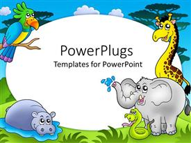 PowerPoint template displaying zoo theme with exotic animals with hippo, giraffe, elephant, snake and parrot on safari background with white round frame in the middle